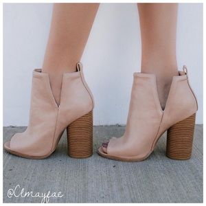 Shoes - LAST1// New Taupe Peep Toe Booties